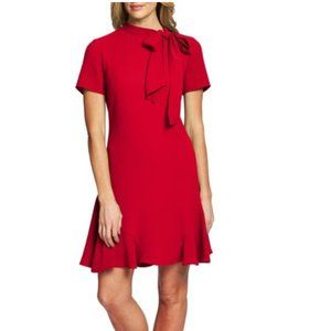 Cece Bow Neck Short Sleeve Red Dress